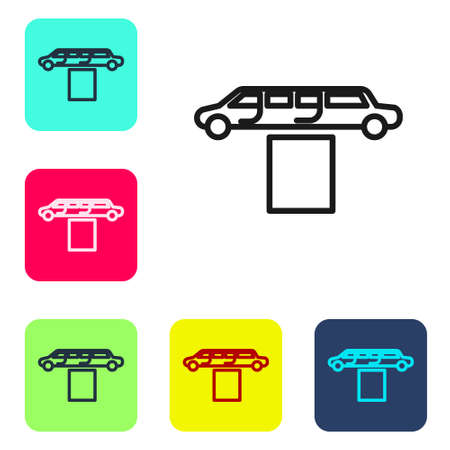 Black line Luxury limousine car and carpet icon isolated on white background. For world premiere celebrities and guests poster. Set icons in color square buttons. Vector Illustration