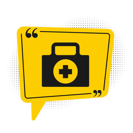 Black First aid kit icon isolated on white background. Medical box with cross. Medical equipment for emergency. Healthcare concept. Yellow speech bubble symbol. Vector Illustration
