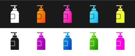 Set Hand sanitizer bottle icon isolated on black and white background. Disinfection concept. Washing gel. Alcohol bottle for hygiene. Vector Illustration