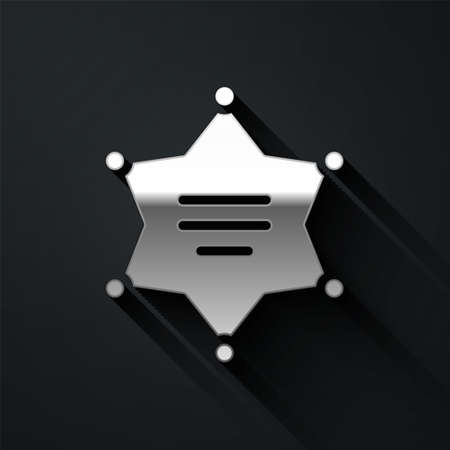 Silver Hexagram sheriff icon isolated on black background. Police badge icon. Long shadow style. Vector Illustration