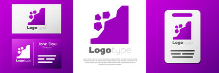Logotype Landslide icon isolated on white background. Stones fall from the rock. Boulders rolling down a hill. Rockfall. Logo design template element. Vector Illustration