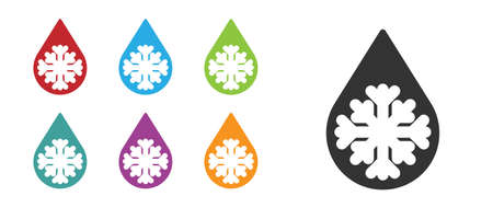 Black Defrosting icon isolated on white background. From ice to water symbol. Set icons colorful. Vector Illustration