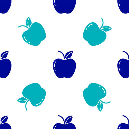 Blue Apple icon isolated seamless pattern on white background. Fruit with leaf symbol. Vector Illustration