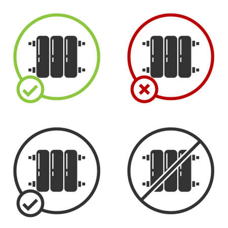 Black Heating radiator icon isolated on white background. Circle button. Vector Illustration