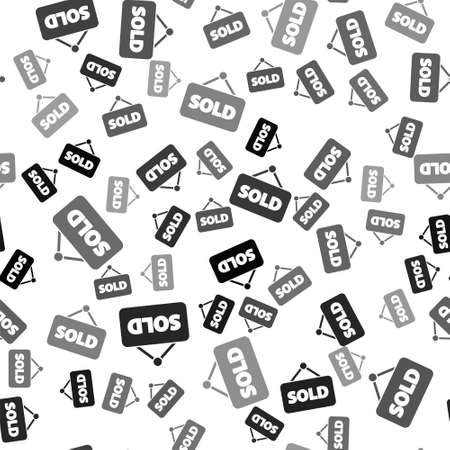Black Hanging sign with text Sold icon isolated seamless pattern on white background. Sold sticker. Sold signboard. Vector Illustration