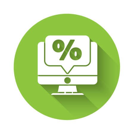 White Percent discount and monitor icon isolated with long shadow. Sale percentage - price label, tag. Green circle button. Vector Illustration