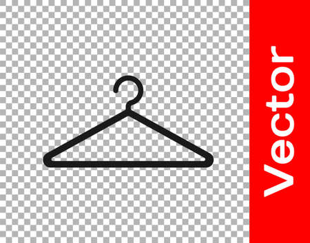 Black Hanger wardrobe icon isolated on transparent background. Cloakroom icon. Clothes service symbol. Laundry hanger sign. Vector Illustration Ilustracje wektorowe