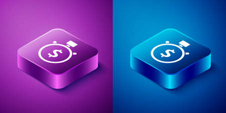 Isometric Time is money icon isolated on blue and purple background. Money is time. Effective time management. Convert time to money. Stopwatch. Square button. Vector Illustration
