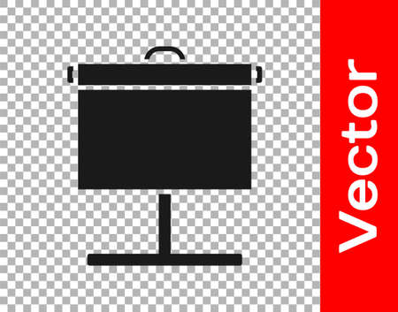 Black Projection screen icon isolated on transparent background. Business presentation visual content like slides, infographics and video. Vector Illustration