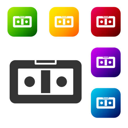 Black VHS video cassette tape icon isolated on white background. Set icons in color square buttons. Vector Illustration 向量圖像