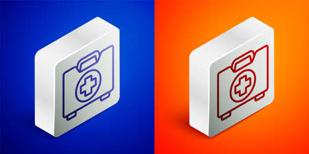 Isometric line First aid kit icon isolated on blue and orange background. Medical box with cross. Medical equipment for emergency. Healthcare concept. Silver square button. Vector Illustration Ilustracja