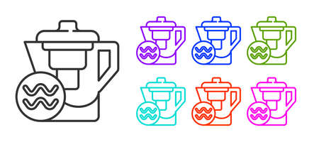 Black line Water jug with a filter icon isolated on white background. Set icons colorful. Vector Illustration