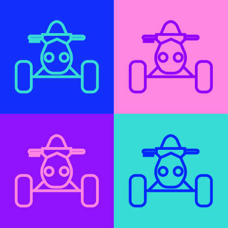 Pop art line All Terrain Vehicle or ATV motorcycle icon isolated on color background. Quad bike. Extreme sport. Vector Illustration