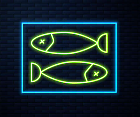 Glowing neon line Dried fish icon isolated on brick wall background. Vector Illustration