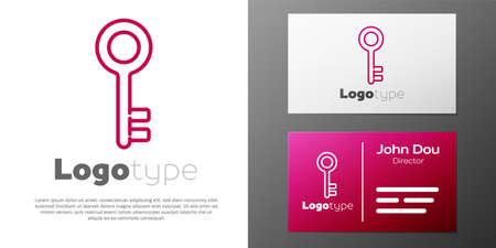 Logotype line House key icon isolated on white background. Logo design template element. Vector Illustration
