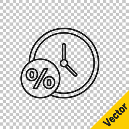 Black line Clock and percent icon isolated on transparent background. Vector Illustration