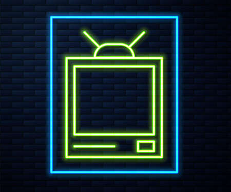 Glowing neon line Retro tv icon isolated on brick wall background. Television sign. Vector Illustration