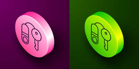 Isometric line House with key icon isolated on purple and green background. The concept of the house turnkey. Circle button. Vector Illustration