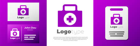 Logotype First aid kit icon isolated on white background. Medical box with cross. Medical equipment for emergency. Healthcare concept. Logo design template element. Vector Illustration