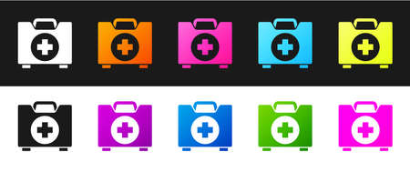 Set First aid kit icon isolated on black and white background. Medical box with cross. Medical equipment for emergency. Healthcare concept.  Vector Illustration