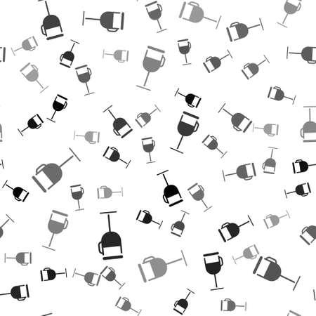 Black Irish coffee icon isolated seamless pattern on white background. Vector Illustration