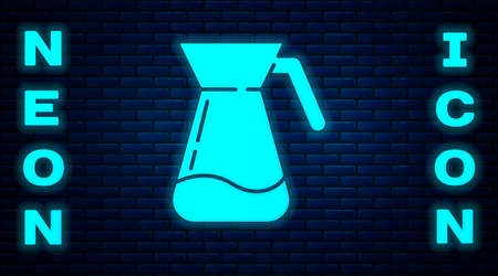 Glowing neon Jug glass with water icon isolated on brick wall background. Kettle for water. Glass decanter with drinking water.  Vector Illustration Çizim