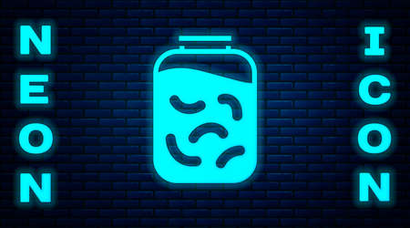 Glowing neon Pickled cucumbers in a jar icon isolated on brick wall background. Vector Illustration