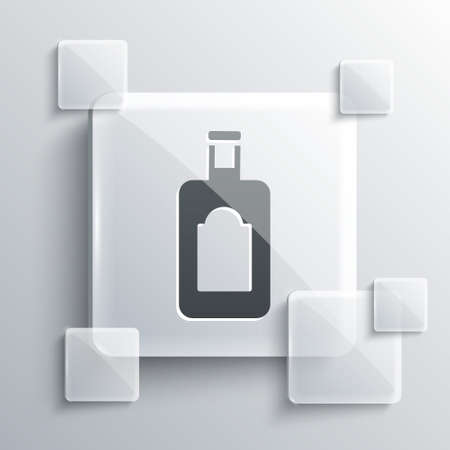 Grey Whiskey bottle icon isolated on grey background. Square glass panels. Vector Illustration