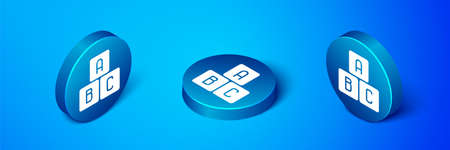 Isometric ABC blocks icon isolated on blue background. Alphabet cubes with letters A,B,C. Blue circle button. Vector Illustration