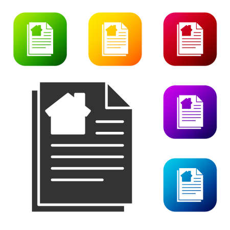 Black House contract icon isolated on white background. Contract creation service, document formation, application form composition. Set icons in color square buttons. Vector Illustration
