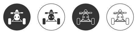 Black All Terrain Vehicle or ATV motorcycle icon isolated on white background. Quad bike. Extreme sport. Circle button. Vector Illustration