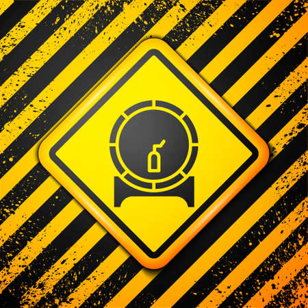 Black Wooden barrel on rack with stopcock icon isolated on yellow background. Warning sign. Vector Illustration