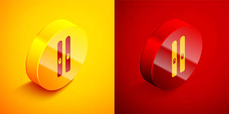 Isometric Ski and sticks icon isolated on orange and red background. Extreme sport. Skiing equipment. Winter sports icon. Circle button. Vector Illustration