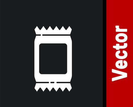 White Fertilizer bag icon isolated on black background. Vector Illustration