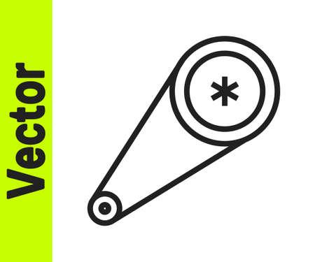 Black line Timing belt kit icon isolated on white background. Vector Illustration
