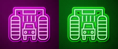 Glowing neon line Car wash icon isolated on purple and green background. Carwash service and water cloud icon. Vector Illustration