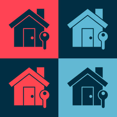 Pop art House with key icon isolated on color background. The concept of the house turnkey. Vector Illustration