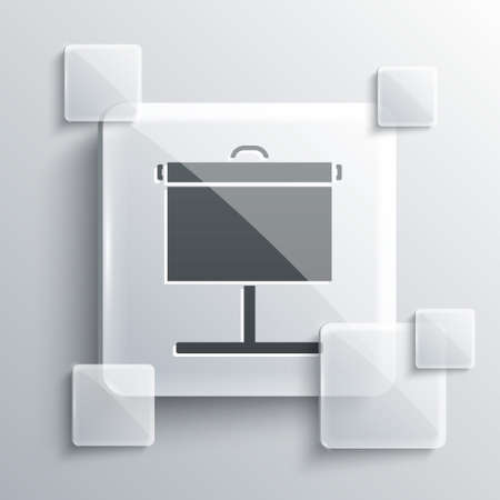 Grey Projection screen icon isolated on grey background. Business presentation visual content like slides, infographics and video. Square glass panels. Vector Illustration