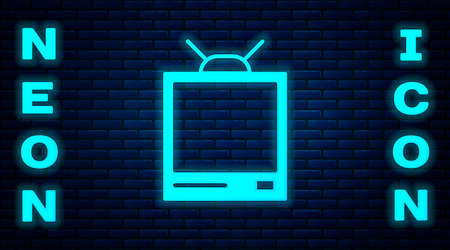 Glowing neon Retro tv icon isolated on brick wall background. Television sign. Vector Illustration Illustration