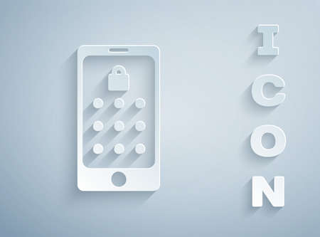 Paper cut Mobile phone and graphic password protection icon isolated on grey background. Security, personal access, user authorization. Paper art style. Vector Illustration Vettoriali