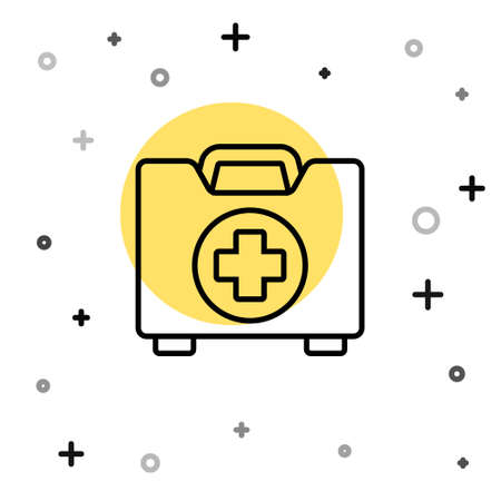 Black line First aid kit icon isolated on white background. Medical box with cross. Medical equipment for emergency. Healthcare concept. Random dynamic shapes. Vector Illustration