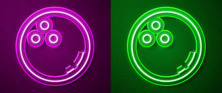 Glowing neon line Bowling ball icon isolated on purple and green background. Sport equipment. Vector Illustration Illustration
