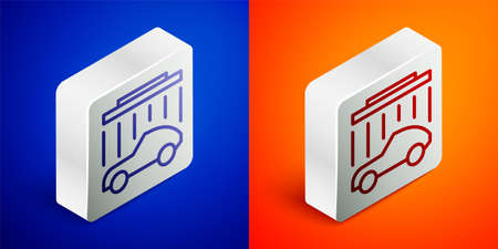 Isometric line Car wash icon isolated on blue and orange background. Carwash service and water cloud icon. Silver square button. Vector Illustration Illustration