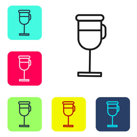 Black line Irish coffee icon isolated on white background. Set icons in color square buttons. Vector Illustration