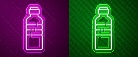 Glowing neon line Bottle of water icon isolated on purple and green background. Soda aqua drink sign. Vector Illustration