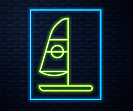 Glowing neon line Windsurfing icon isolated on brick wall background. Vector Illustration