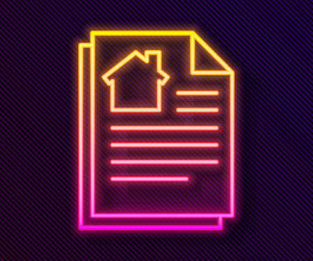 Glowing neon line House contract icon isolated on black background. Contract creation service, document formation, application form composition. Vector Illustration Stock Illustratie