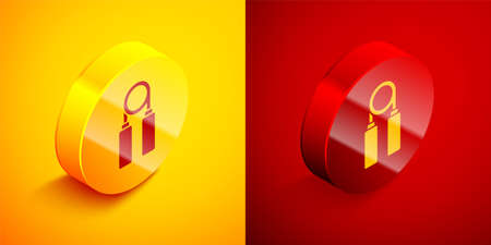 Isometric Sport expander icon isolated on orange and red background. Sport equipment. Circle button. Vector Illustration 向量圖像