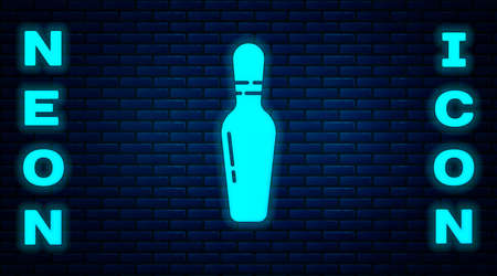 Glowing neon Bowling pin icon isolated on brick wall background. Vector Illustration