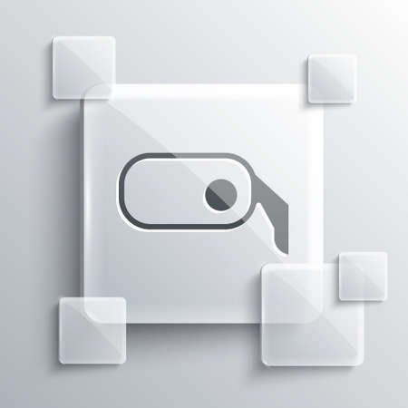 Grey Car rearview mirror icon isolated on grey background. Square glass panels. Vector Illustration